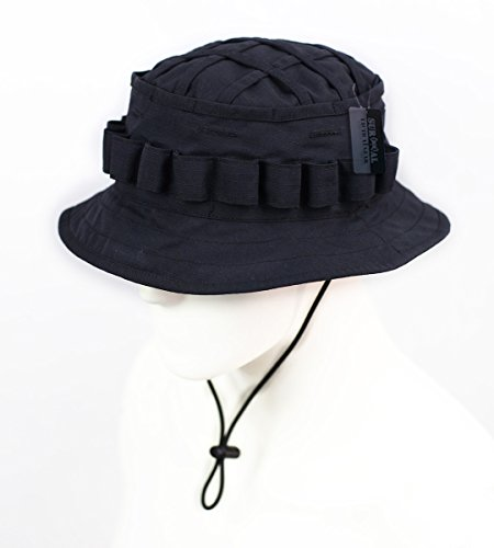 ZAPT Boonie Hat Military Camo Cap Hunter Sniper Ghillie Bucket Hats Adjustable Jungle Bush Hat (Solid Black) - Jungle Boonie Hat