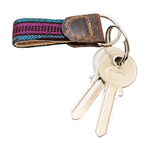 Rustic Mayan Key Chain Handmade by Hide & Drink :: Tropical Blue