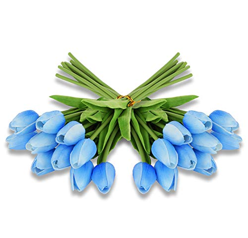 EZFLOWERY 20 Heads Artificial Tulips Flowers Real Touch Arrangement Bouquet for Home Room Office Party Wedding Decoration, Excellent Gift Idea for Mothers Day (20, Blue) ()