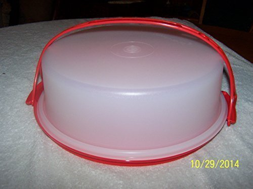 Tupperware 10 inch Pie Carrier Fire Red Base and Cariolier Handle with Sheer 3 inch Top