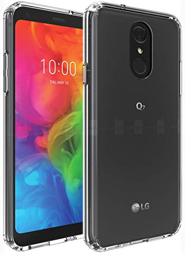 LG Q7 Case, LG Q7 Plus Case, OUBA [Shock Absorbing] Air Hybrid Slim fit Shockproof Armor Anti-Drop Crystal [Clear] Back + TPU Bumper Protective Case Cover Compatible for LG Q7 - Clear