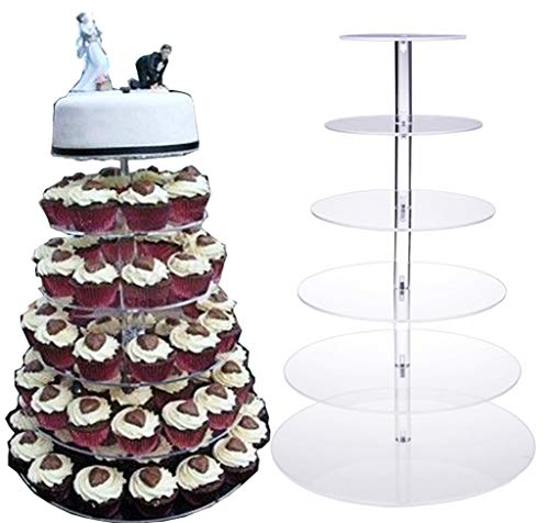 Oanon Round Crystal Clear Acrylic Cupcake Stand Wedding Display Cake Tower[US STOCK] (6 Tiers, - Large Clear Crystal Acrylic