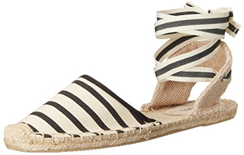 Soludos Women's Classic Stripe Sandal, Natural Black, 8 B US Stripe Espadrille