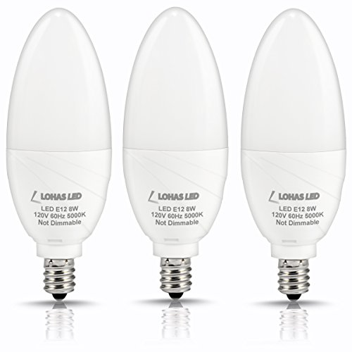 LOHAS E12 Candelabra Bulb 5000k Daylight White, 75W Equivalent 8W LED Bulb 750lm 180 Degree Beam Angle Decorative Light, Non-dimmable Candle Light Bulbs, Pack of 3