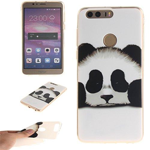 Hozor Huawei Honor 8 Cas, Motif Peint TPU Souple En Silicone Couverture Arrière Slim Fit Antichoc Scratch Résistant Cas De Téléphone De Protection Bord Transparent panda