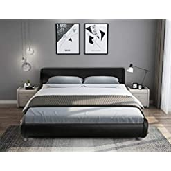 Bedroom SHA CERLIN Queen Size Bed Frame, Upholstered Faux Leather Low Profile Sleigh Platform Bed with Adjustable Headboard… modern beds and bed frames