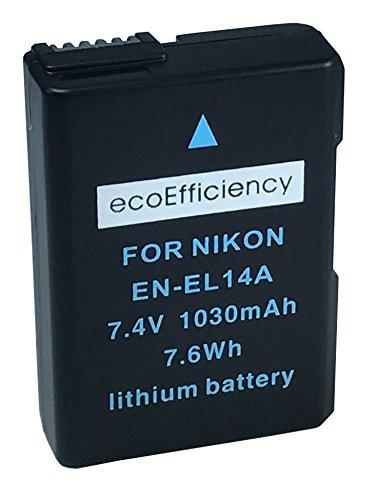 ecoEfficiency 2 Pack of Fully Decoded EN-EL14, EN-EL14A Batteries and Charger for Nikon D3400 Digital SLR Camera