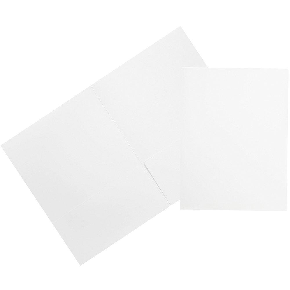 JAM Paper 2 Pocket Matte Cardstock School Presentation Folder - White - 100/pack