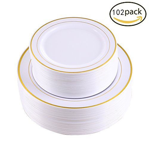 102 Pieces Gold Plastic Plates, White Party Plates, Premium Heavyweight Disposable Wedding Plates Includes: 51 Dinner Plates 10.25 Inch and 51 Salad / Dessert Plates 7.5 Inch (Piece Trim Plastic)