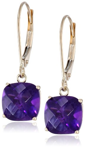 (10k Yellow Gold Cushion-Cut Checkerboard Amethyst Leverback Earrings (6mm))