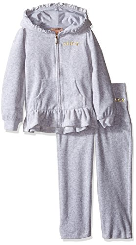 - Juicy Couture Little Girls' 2 Piece Velour Hooded Jacket and Pant Set, Gray, 5