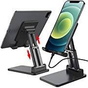 #LightningDeal Cell Phone Stand, Angle Height Adjustable Phone Stand for Desk, Foldable & Portable Phone Holder Compatible with iPhone 11 12 Max XR, Switch, iPad,Tablet and All Mobile Phones (Black)