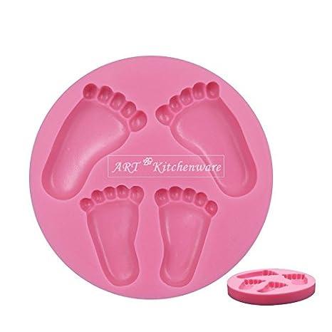 Pies de bebé ducha bautizo 3d molde de silicona Fondant decoración de pasteles Topper: Amazon.es: Hogar
