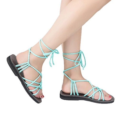 Flat Sandals, Women Cross Strap Sandals Roman Sandal Ankle Wrap Flat Shoes Summer Fashion Beach Shoes Slippers (US:9, Green) Cotton Slim Cross Stripes