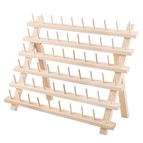 Spool Embroidery Thread Stand (Tosnail 60-Spool Beechwood Thread Rack Embroidery Thread Holder)