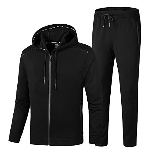 ddc8e53e8 INVACHI Men's Casual 2 Pieces Solid Full Zip Hooded Sports Sets Jacket &  Pants Active Gym Fitness Tracksuit Set