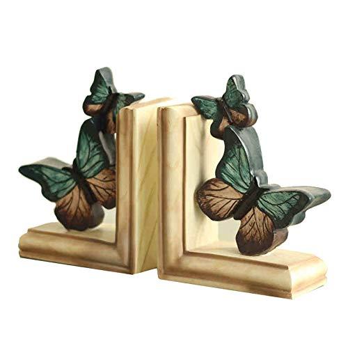 MSQL Bookends Antique Resin Ice Blue Butterfly Bookshelf, Home Office Desktop Decoration, 1 Pair