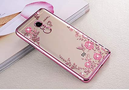 huge discount 434a4 2b09e Loxxo® Soft TPU Silicone Auora Flower Back Cover Case with Sparkle  Swarovski Crystals for Xiomi Redmi Note 4(Rose Gold) (Rose Gold)
