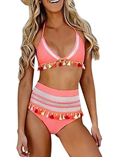 f1625d5b9599 Jual Dokotoo Womens High Waist Two Pieces Bikini Set Striped Tassel ...