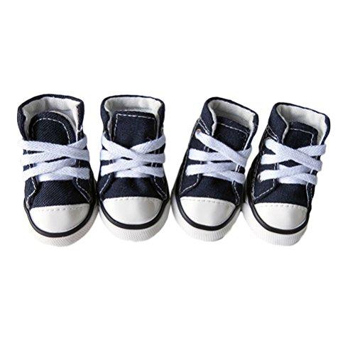 UEETEK Pet Dog Puppy Canvas Sport Shoes Sneaker Boots Outdoor Nonslip Causal Shoes Size XL (Blue)