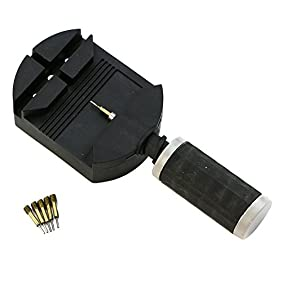 Zadaro Watch Band Link Remover Bracelet Strap Adjuster Repair Tool Kit for Watchmakers with 5 Extra Pins (Black)