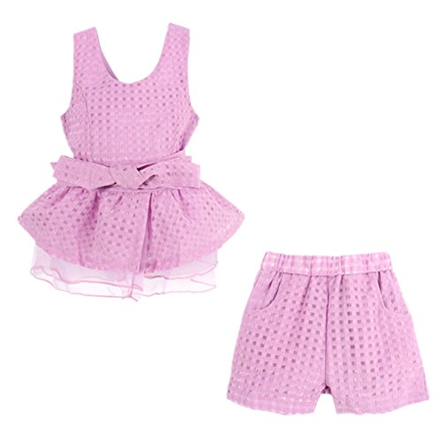 [LittleSpring Little Girls' Clothing Set Plaid,3-4T/Height 38-42 inch,Purple(110)] (Halloween Outfits For Little Girls)
