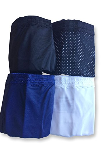 (Warners Womens No Pinches No Problems Hipster Panty 4-Pack, Black/White/Black White Dot/Navy)