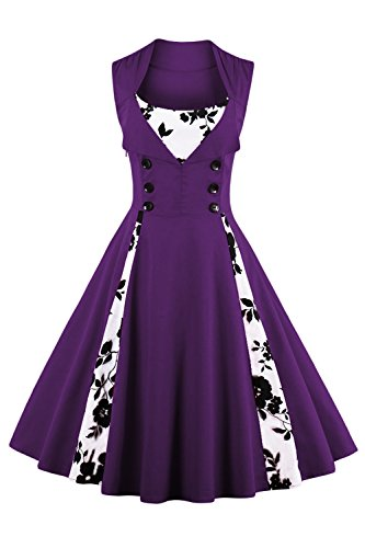 Jiuzhoudeal Women's 1950s Vintage Sleeveless Retro Swing Party Classy Dress (Large, Purple-Floral)