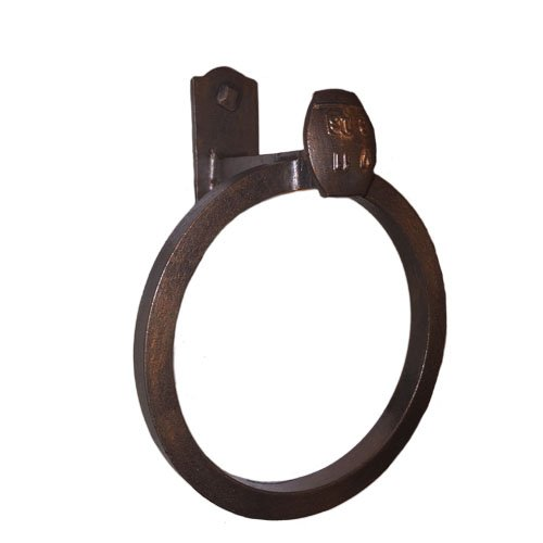 Cobre Railroad Spike Wrought Iron Towel Ring Blackened Bronze Finish - Country Towel Ring