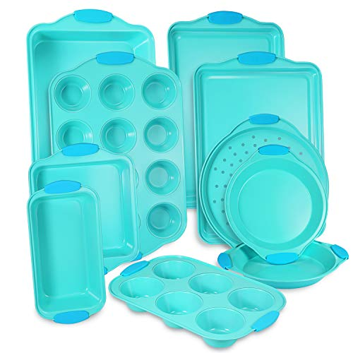 10-Piece Nonstick Bakeware Set with Blue Silicone Handles with Baking Pans, Baking Sheets, Cookie Sheets, Muffin Pan…