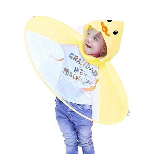 Lywey Children's Cloak-style Cute Cabin Umbrella Rain Boots Vibrating UFO Raincoat Suit Small Duck Panda, Yellow (Small, Yellow)