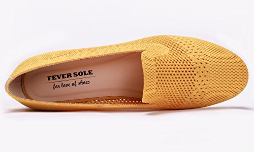 Women's Fashion Plates Pour Feversole Shoes Chaussures Femmes Flat Flyknit Jaune Loafer OqSUSd6