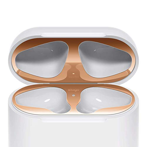 elago Upgraded AirPods Dust Guard (Rose Gold, 1 Set) - Dust-Proof Film, Luxurious Looking, Must Watch Easy Installation Video, Protect AirPods from Iron/Metal Shavings [Patent Pending]