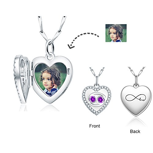 COTO Personalized Custom Photo Pendant 925 Sterling Silver Zodiac and Birthstone Love Heart Pendant Charm for Necklces (Cancer)