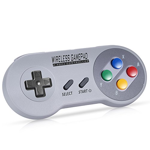 Zeato 2.4GHz Wireless Controller for SNES/SFC Classic Edition, Rechargeable SNES mini Wireless Gamepad with Retro/USB Receiver for Super NES Classic Edition