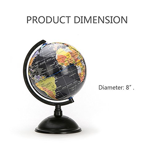 HaloVa World Globe, Desktop 8 inch Spinning Globe with Stand for Kids Students Teachers Geographic Scout Bedroom Decor Educational Gift, Black by HaloVa (Image #5)