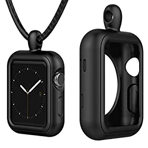 Greatfine Apple Watch Accessories Necklace Pendant Case Cover for Apple Watch 42MM Series 3 / 2 / 1 / Nike+ / Edition (Black, 42MM)