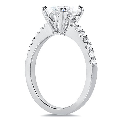 Round-cut Moissanite & Diamond Engagement Ring 2 1/10 Carat (ctw) in 14k White Gold