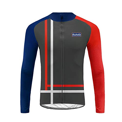 Uglyfrog USH19LJDT04 Mens Thermodream Cycling Jersey US National Flag Color Matching Full Sleeve Thermal Roubaix Cycling Jacket Bicycle Equipment ()