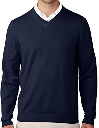 Ashworth Cotton Jersey (Ashworth Men's Cotton Plaited Jersey V-Neck Sweater, Navy/Coastal Blue, X-Large)