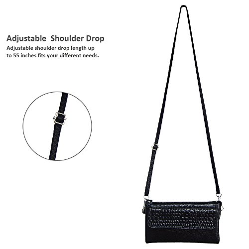 Shoulder Leather Crossbody Large Black Befen Strap with Wristlet Wrist Smartphone Clutch Strap Slots Wallet Card zAxdIqf