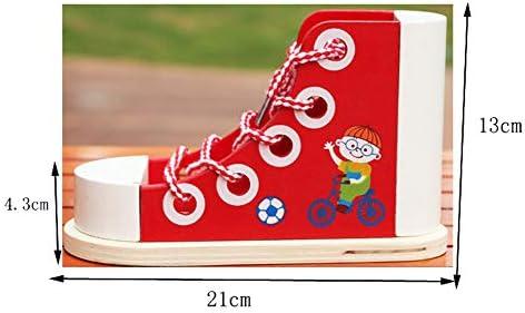 Wumudidi Juguetes de Zapatos de Cordones para niños pequeños de Madera, Juguetes educativos Montessori para la Primera Infancia