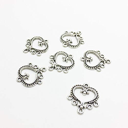 Man Lammers - 30pcs/lot Charms 1921mm Antique Silver Heart Shape Connectors Dangle Earring Accessories Charm