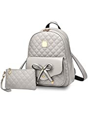 I IHAYNER Girls Bowknot 2-PCS Fashion Backpack Cute Mini Leather Backpack Purse for Women