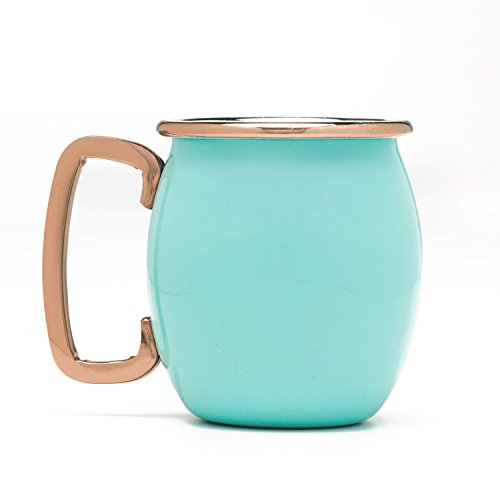 (Fiesta 4 Piece Moscow Mule Shot Mug Set with Copper Accents, Turquoise)