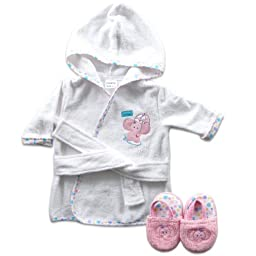 Luvable Friends Woven Terry Baby Bath Robe with Slippers, Pink