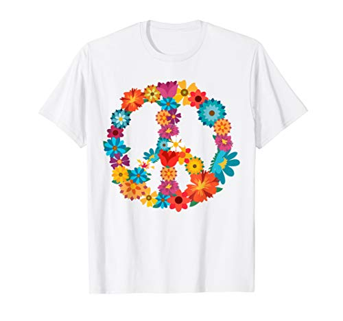 Peace Love Shirt | 60's 70's Hippie Costume Colorful Flowers ()