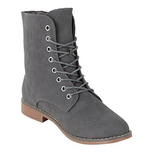 napoli-fashion Gefütterte Damen Stiefeletten Worker Boots Schnürstiefel Jennika Grau Nieten