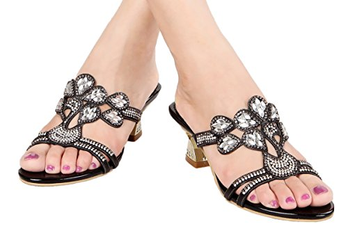 sale sneakernews outlet locations for sale jiandick Womens Rhienstone Chunky Heels Evening Wedding Dress Slide Sandals Black buy cheap pre order cheap sale extremely FRAZuG