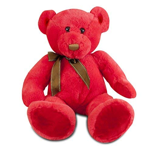 (Gitzy Sitting Teddy Bear - Colorful Stuffed Animal for Kids - 12 Inch Plush Bear - Red)